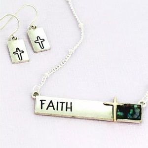 Jewelry - Silvertone & Abalone FAITH Necklace & Earring Set